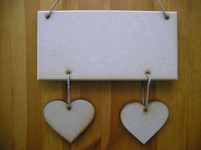 (HP2) Hanging 2 Heart Plaque