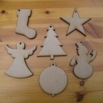 Set of 6 - Stocking, Tree, Snowman, Angel, Star, Bauble (C9)