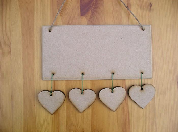 (HP7) Hanging 4 Hearts Plaque