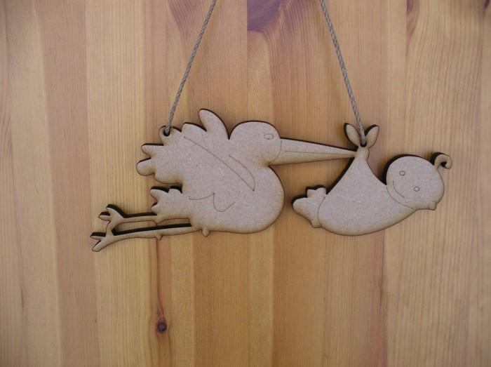 Stork & Baby Plaque