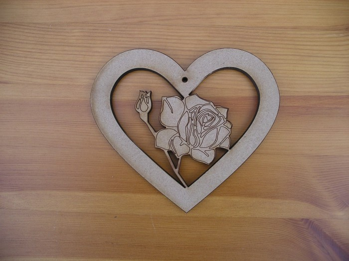 Heart with Etched Rose